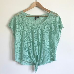 Mint Lace Tie-Front Tee - M